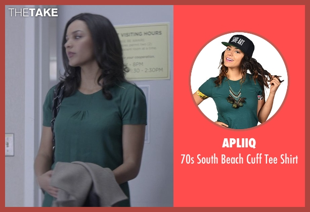 Apliiq green shirt from That Awkward Moment seen with Jessica Lucas  (Vera)