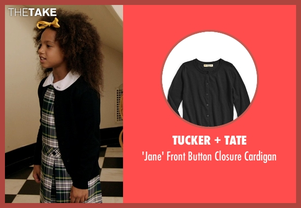 Tucker + Tate black cardigan from Black or White seen with Jillian Estell (Eloise Anderson)