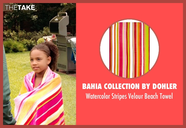Bahia Collection By Dohler pink towel from Black or White seen with Jillian Estell (Eloise Anderson)