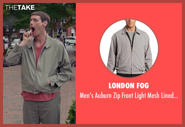 London Fog gray jacket from Dumb and Dumber To seen with Jim Carrey (Lloyd Christmas)