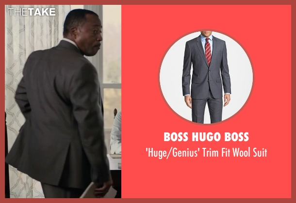Boss Hugo Boss gray suit from Paper Towns seen with Jim R. Coleman (Detective Warren)