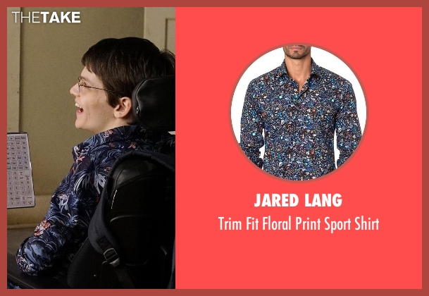 Jared Lang blue shirt from Speechless seen with JJ Dimeo (Micah Fowler)