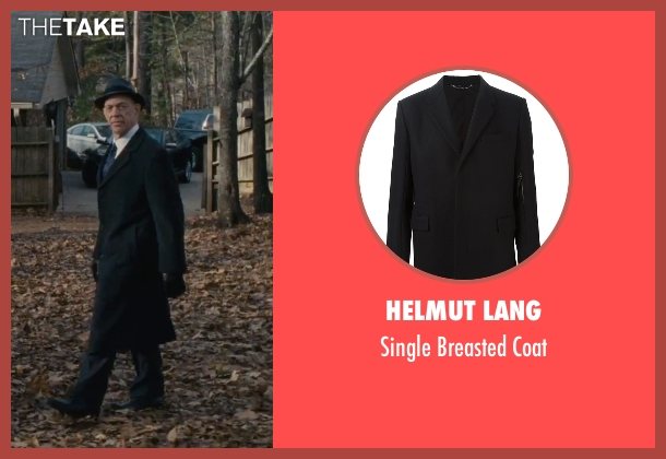 Helmut Lang black coat from The Accountant seen with J.K. Simmons (Ray King)