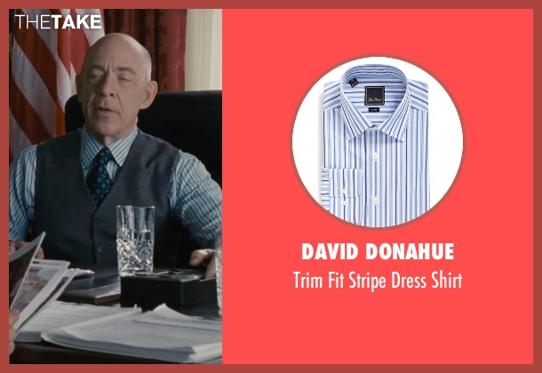 David Donahue blue shirt from The Accountant seen with J.K. Simmons (Ray King)
