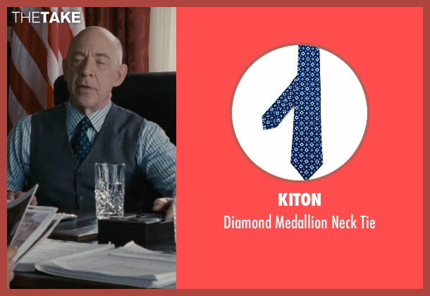 Kiton blue tie from The Accountant seen with J.K. Simmons (Ray King)