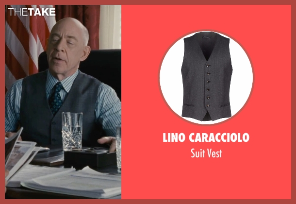 Lino Caracciolo gray vest from The Accountant seen with J.K. Simmons (Ray King)