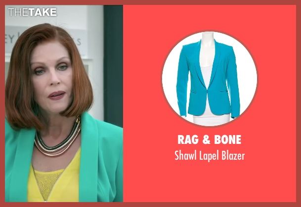 Rag & Bone blue blazer from Absolutely Anything seen with Joanna Lumley (Fenella)