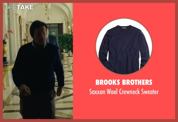 Brooks Brothers blue sweater from Our Brand Is Crisis seen with Joaquim de Almeida (Pedro Gallo)