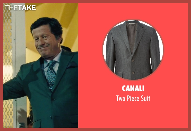 Canali gray suit from Our Brand Is Crisis seen with Joaquim de Almeida (Pedro Gallo)