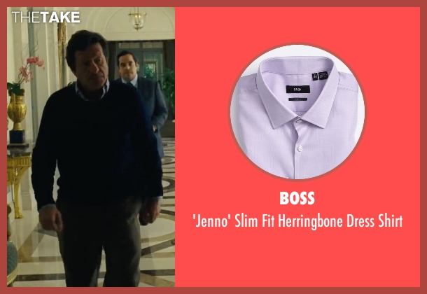 Boss purple shirt from Our Brand Is Crisis seen with Joaquim de Almeida (Pedro Gallo)
