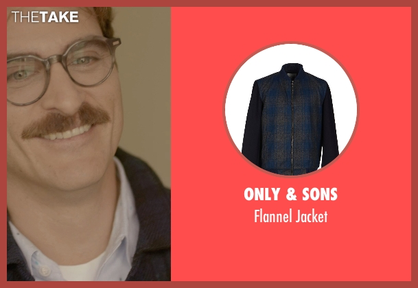 Only & Sons blue jacket from Her seen with Joaquin Phoenix (Theodore Twombly)