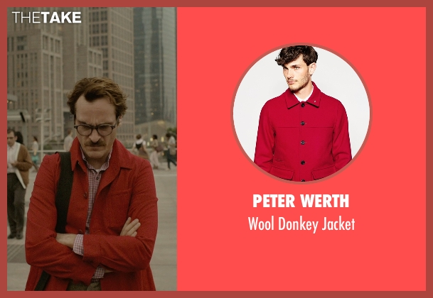 Peter Werth red jacket from Her seen with Joaquin Phoenix (Theodore Twombly)