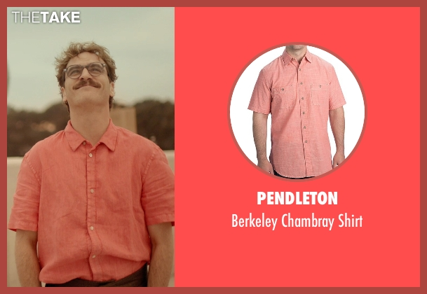 Pendleton red shirt from Her seen with Joaquin Phoenix (Theodore Twombly)