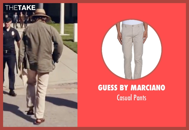 "Guess By Marciano beige pants from Inherent Vice seen with Joaquin Phoenix (Larry ""Doc"" Sportello)"