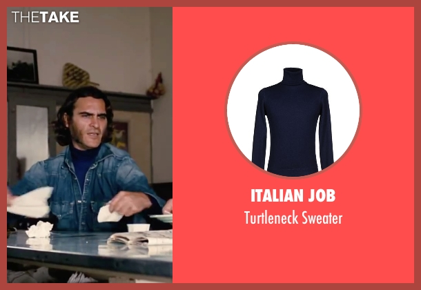 "Italian Job blue sweater from Inherent Vice seen with Joaquin Phoenix (Larry ""Doc"" Sportello)"