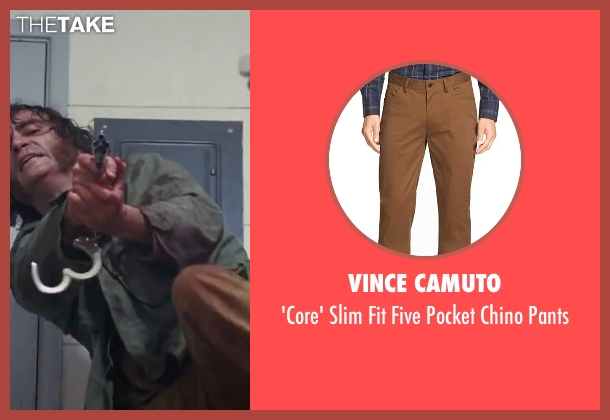 "Vince Camuto brown pants from Inherent Vice seen with Joaquin Phoenix (Larry ""Doc"" Sportello)"