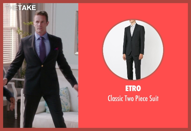 Etro black suit from The Mindy Project seen with Jody Kimball-Kinney  (Garret Dillahunt)