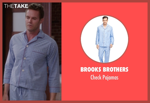 Brooks Brothers blue pajamas from The Mindy Project seen with Jody Kimball-Kinney  (Garret Dillahunt)