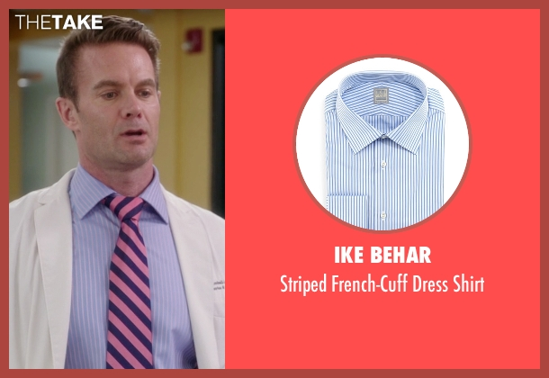 Ike Behar blue shirt from The Mindy Project seen with Jody Kimball-Kinney  (Garret Dillahunt)