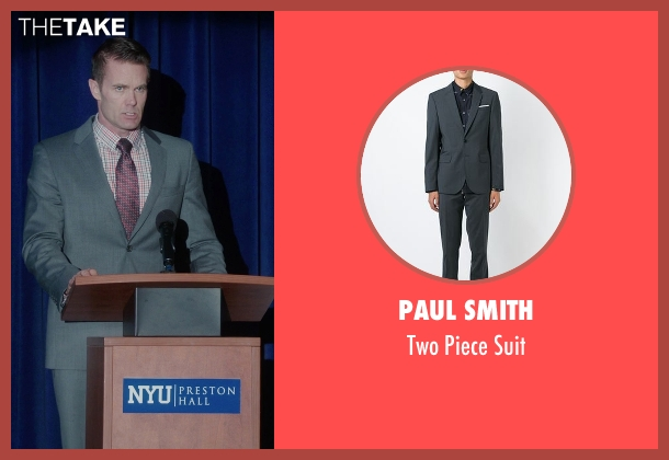 Paul Smith gray suit from The Mindy Project seen with Jody Kimball-Kinney  (Garret Dillahunt)