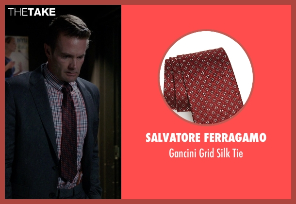 Salvatore Ferragamo red tie from The Mindy Project seen with Jody Kimball-Kinney  (Garret Dillahunt)