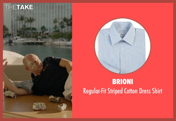 Brioni blue shirt from Ballers seen with Joe (Rob Corddry)
