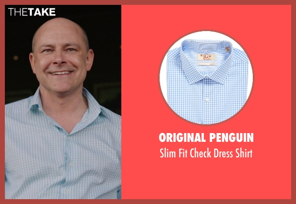 Original Penguin blue shirt from Ballers seen with Joe (Rob Corddry)