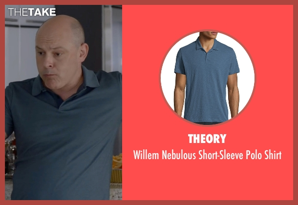 Theory blue shirt from Ballers seen with Joe (Rob Corddry)