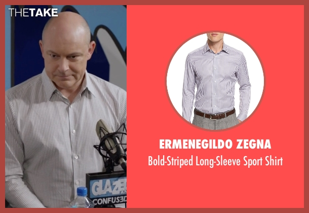 Ermenegildo Zegna gray shirt from Ballers seen with Joe (Rob Corddry)