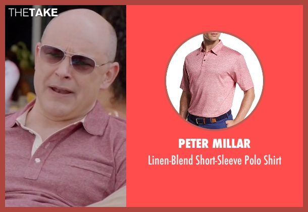 Peter Millar pink shirt from Ballers seen with Joe (Rob Corddry)