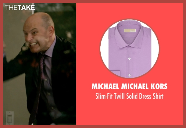 Michael Michael Kors purple shirt from Ballers seen with Joe (Rob Corddry)