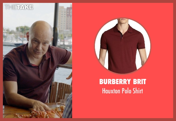Burberry Brit red shirt from Ballers seen with Joe (Rob Corddry)