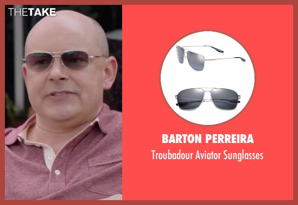 Barton Perreira silver sunglasses from Ballers seen with Joe (Rob Corddry)