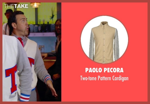 Paolo Pecora beige cardigan from Pitch Perfect 2 seen with Joe Lo Truglio (Clef # 1)