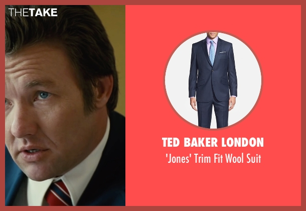 Ted Baker London blue suit from Black Mass seen with Joel Edgerton (John Connolly)