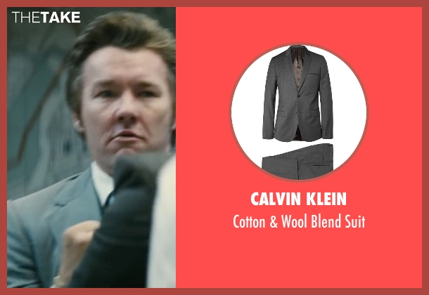 Calvin Klein gray suit from Black Mass seen with Joel Edgerton (John Connolly)