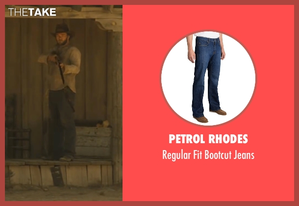 Petrol Rhodes blue jeans from Jane Got A Gun seen with Joel Edgerton (Dan Frost)