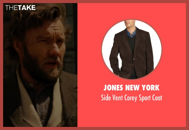 Jones New York brown coat from Jane Got A Gun seen with Joel Edgerton (Dan Frost)
