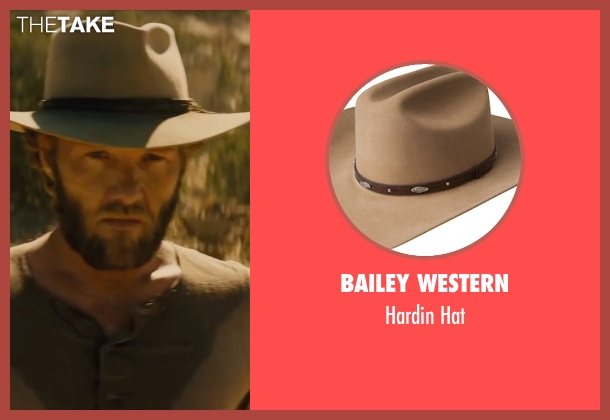 Bailey Western brown hat from Jane Got A Gun seen with Joel Edgerton (Dan Frost)