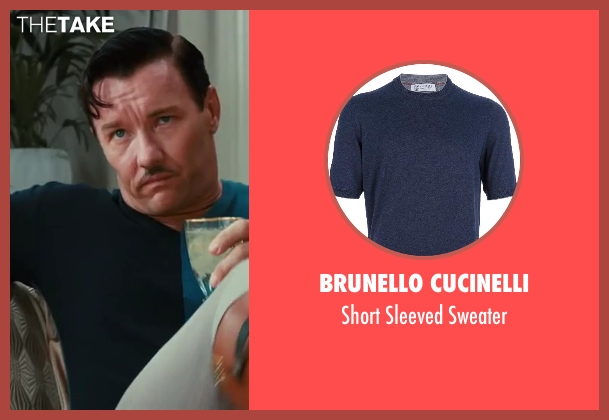 Brunello Cucinelli blue sweater from The Great Gatsby seen with Joel Edgerton (Tom Buchanan)