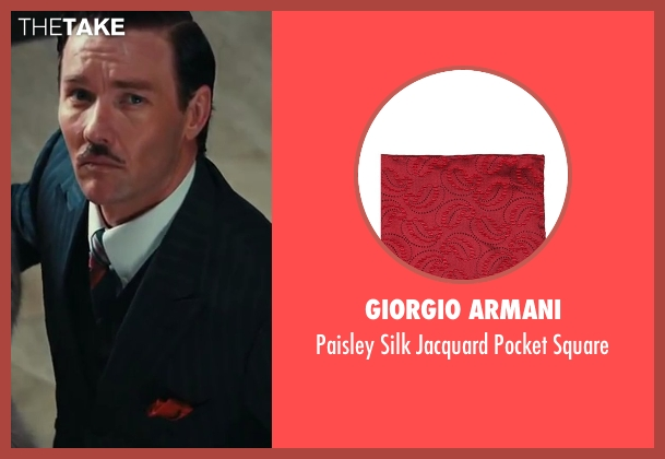 Giorgio Armani red square from The Great Gatsby seen with Joel Edgerton (Tom Buchanan)
