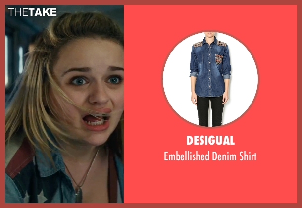 Desigual blue shirt from Independence Day: Resurgence seen with Joey King (Sam)