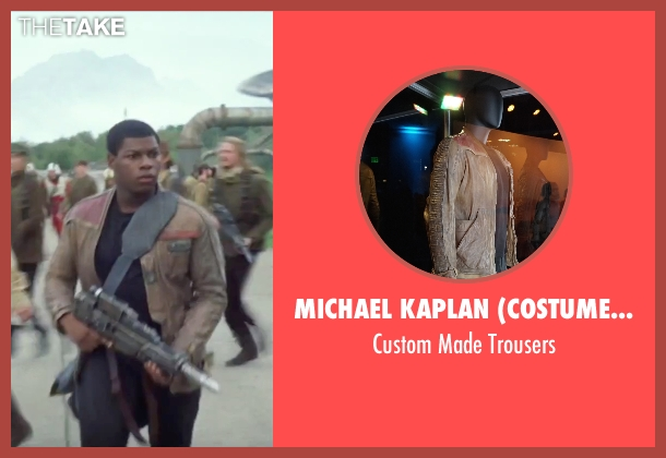 Michael Kaplan (Costume Designer) black trousers from Star Wars: The Force Awakens seen with John Boyega (Finn)