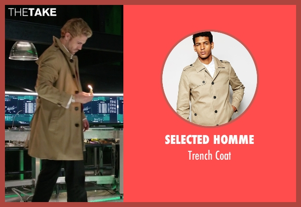 Selected Homme beige coat from Arrow seen with John Constantine (Matt Ryan)