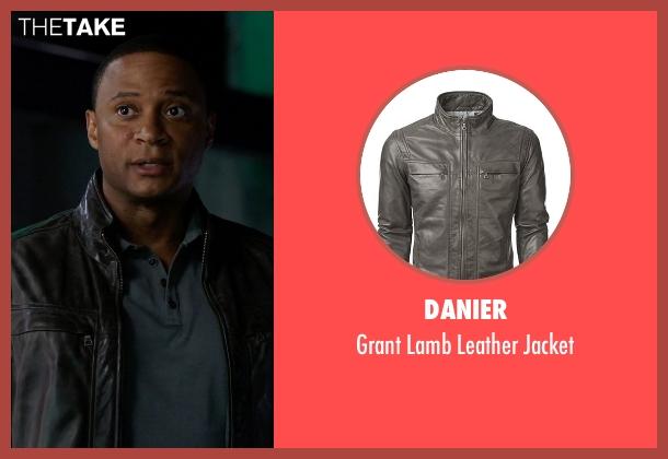 Danier black jacket from Arrow seen with John Diggle (David Ramsey)