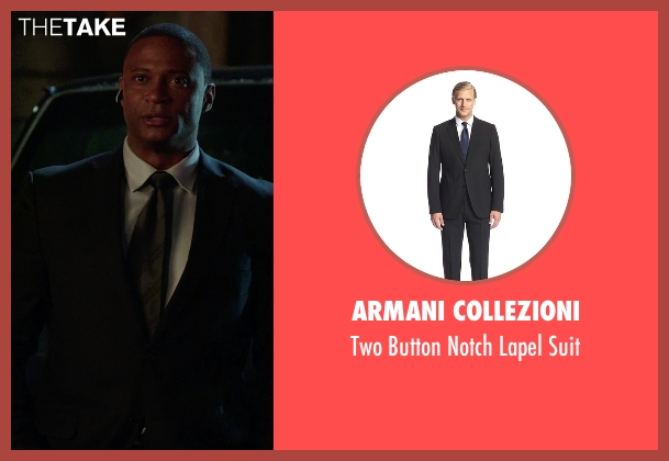 Armani Collezioni black suit from Arrow seen with John Diggle (David Ramsey)