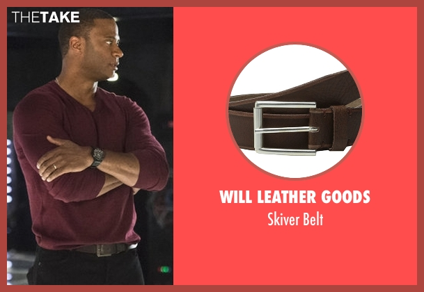 Will Leather Goods brown belt from Arrow seen with John Diggle (David Ramsey)