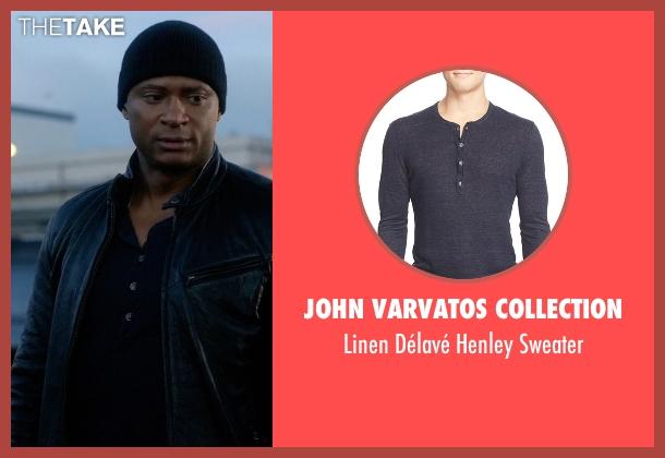 John Varvatos Collection blue sweater from The Flash seen with John Diggle (David Ramsey)