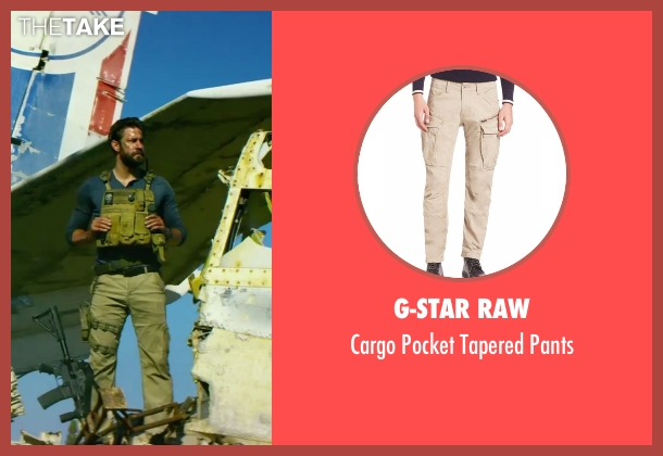 G-Star Raw beige pants from 13 Hours: The Secret Soldiers of Benghazi seen with John Krasinski (Jack)