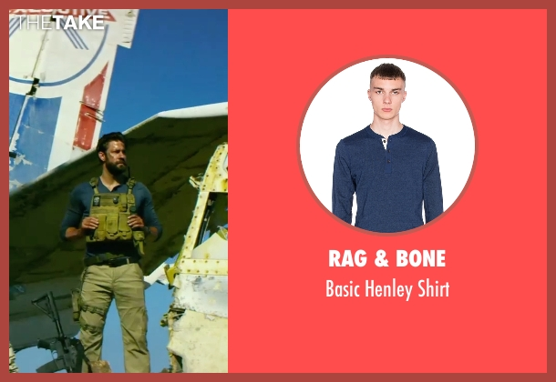 Rag & Bone blue shirt from 13 Hours: The Secret Soldiers of Benghazi seen with John Krasinski (Jack)